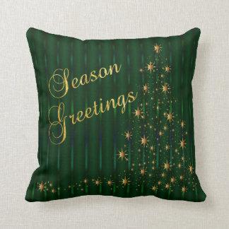 Cojín Decorativo Árbol de navidad verde oscuro y del oro de la