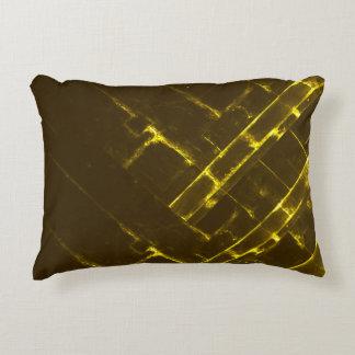 Cojín Decorativo Armadura geométrica amarilla rústica del batik de
