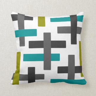 Cojín Decorativo Arte abstracto de la aguamarina, chartreuse y gris