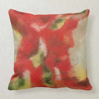 Cojín Decorativo Arte abstracto que pinta textura roja del amarillo