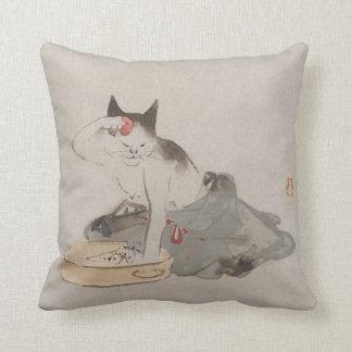 Cojín Decorativo Arte de baño japonés del gato del vintage