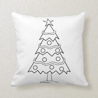 Cojín Decorativo Arte del árbol de navidad del color de la