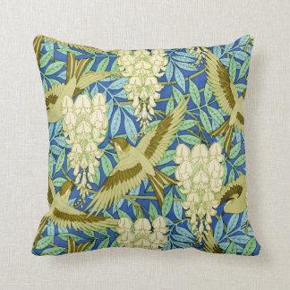 Cojín Decorativo Arte Nouveau de las glicinias y de los pájaros