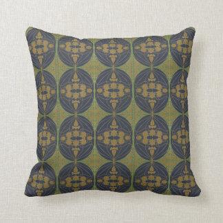 Cojín Decorativo Arte Nouveau retro - oro verde azul