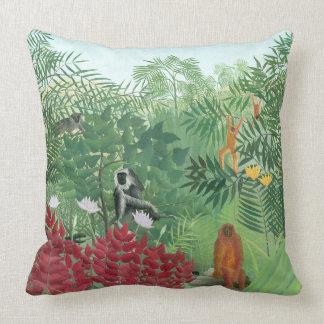 Cojín Decorativo Arte restaurado de la selva del mono de Henri