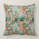 Cojín Decorativo Aves tropicales de época en el paraíso de la selva