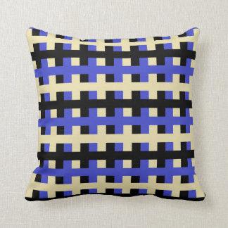 Cojín Decorativo Azul abstracto, beige y negro