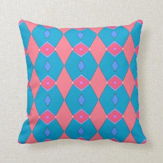 Cojín Decorativo Cojín decorativo, azul céruléen y rosa, Rombos
