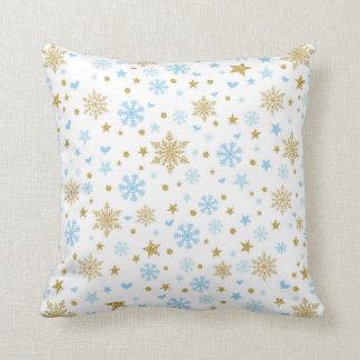 Cojín Decorativo Azul del copo de nieve del invierno y regalo del