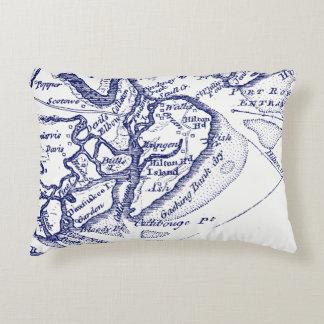Cojín Decorativo Azules marinos del mapa del vintage del SC de