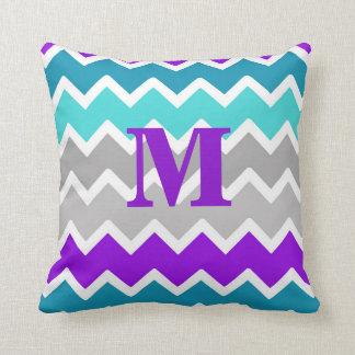 Cojín Decorativo Azules turquesas Chevron gris gris púrpura del