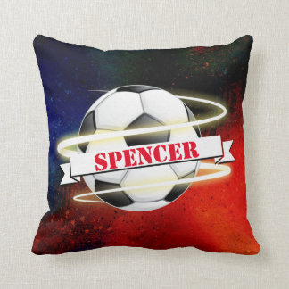 Cojín Decorativo Balón de fútbol cósmico personalizado