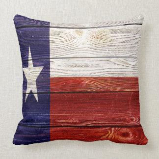 Cojín Decorativo Bandera de madera rústica patriótica de Tejas