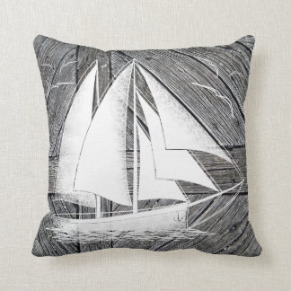 Cojín Decorativo Barco blanco de madera rústico náutico
