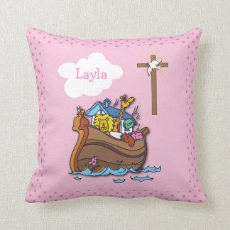 Cojín Decorativo Bautismo de la arca de Noah adaptable, rosa del