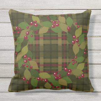 Cojín Decorativo Bayas y tela escocesa rústica de la guirnalda el |