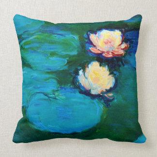 Cojín Decorativo Bella arte de Claude Monet de dos de agua flores