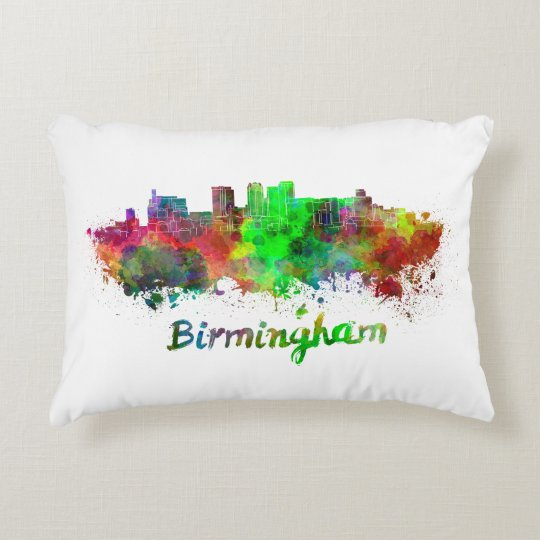 Cojín Decorativo Birmingham skyline in watercolor