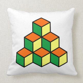 Cojín Decorativo Bloques geométricos - naranja verde y amarillo