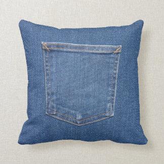 Cojín Decorativo Bolsillo azul original de los vaqueros de la moda