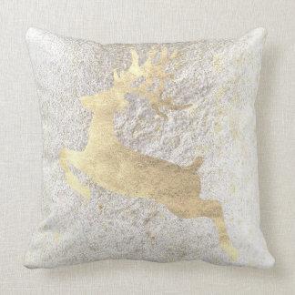 Cojín Decorativo Cabaña blanca nacarada del oro del chamán del reno