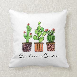 Cojín Decorativo Cactus lindo de la acuarela en potes