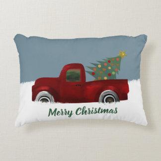 Cojín Decorativo Camión retro y árbol de navidad del vintage rojo