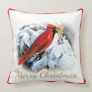Cojín Decorativo Cardenal y nieve feliz Christams elegante