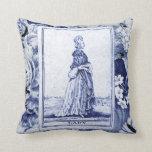 Cojín Decorativo Carta de tarot de señora Vintage en el añil Toile