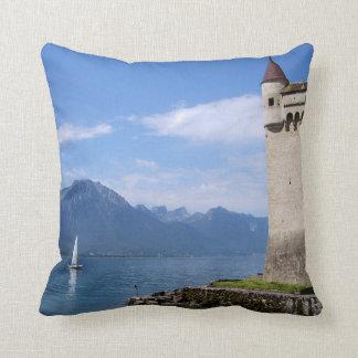 Cojín Decorativo Castillo hermoso Chillon del lago Lemán