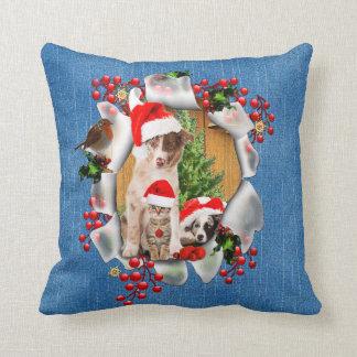 Cojín Decorativo Celebración de navidad con los mascota-amantes