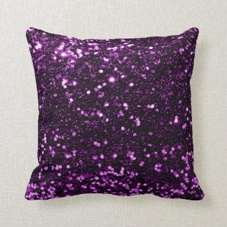 Cojín Decorativo Ciruelo violeta púrpura de la lentejuela de la
