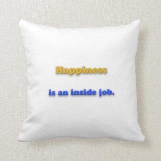 Cojín Decorativo Cita de la felicidad - la felicidad es un trabajo