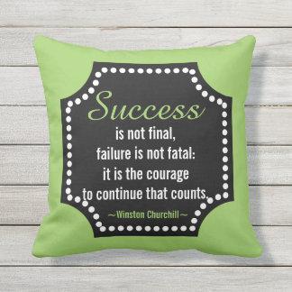 Cojín Decorativo Cita de motivación del éxito de Winston Churchill