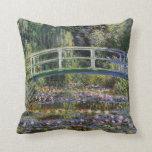 Cojín Decorativo Claude Monet,nenúfares,puente japonés,jardín