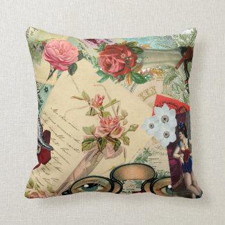 Cojín Decorativo Collage del vintage con los rosas y las gafas
