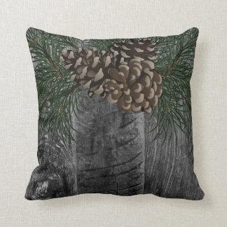 Cojín Decorativo Cono gris de madera y del pino del smokey rústico