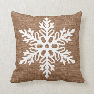 Cojín Decorativo Copo de nieve en navidad del estilo rural de la