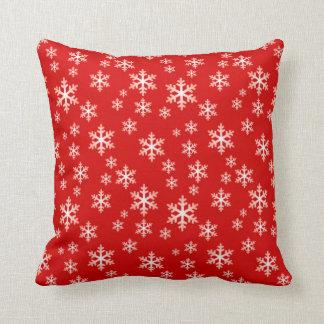 Cojín Decorativo COPOS DE NIEVE del INVIERNO, navidad rojo y blanco