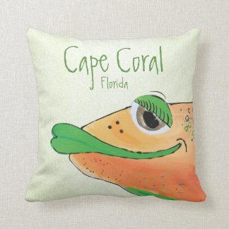 Cojín Decorativo Coral adorable salado FL del cabo del arte de los