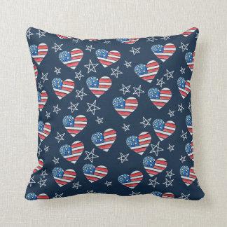 Cojín Decorativo Corazón de la bandera americana