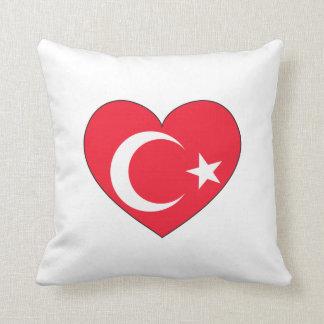 Cojín Decorativo Corazón de la bandera de Turquía