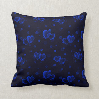 Cojín Decorativo Corazones de la burbuja. Noche azul