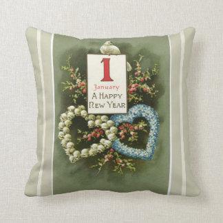 Cojín Decorativo Corazones florales del vintage y Feliz Año Nuevo
