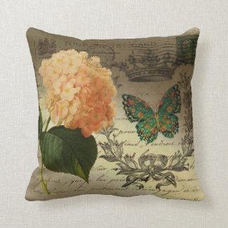 Cojín Decorativo corona botánica París de la mariposa del Hydrangea