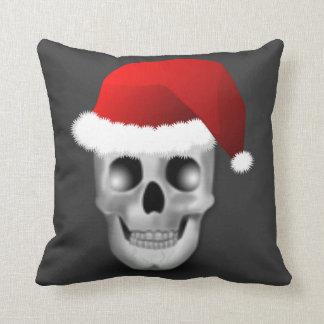 Cojín Decorativo Cráneo Papá Noel del gótico del navidad