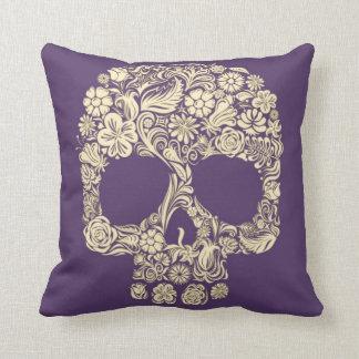 Cojín Decorativo Cráneo púrpura y de marfil del azúcar