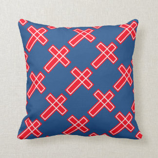 Cojín Decorativo Cruz cristiana blanca y azul roja