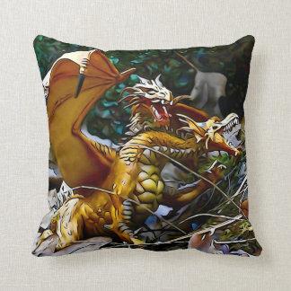 Cojín Decorativo Cuadrado de oro de la jerarquía de los dragones