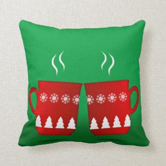 Cojín Decorativo cuadrado rojo reflexionado sobre navidad del